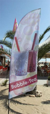 Beachflag mit Bubble-Tea Motiv